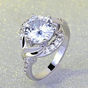 New S925 SP White Sapphire Ring Sizes 7 & 8